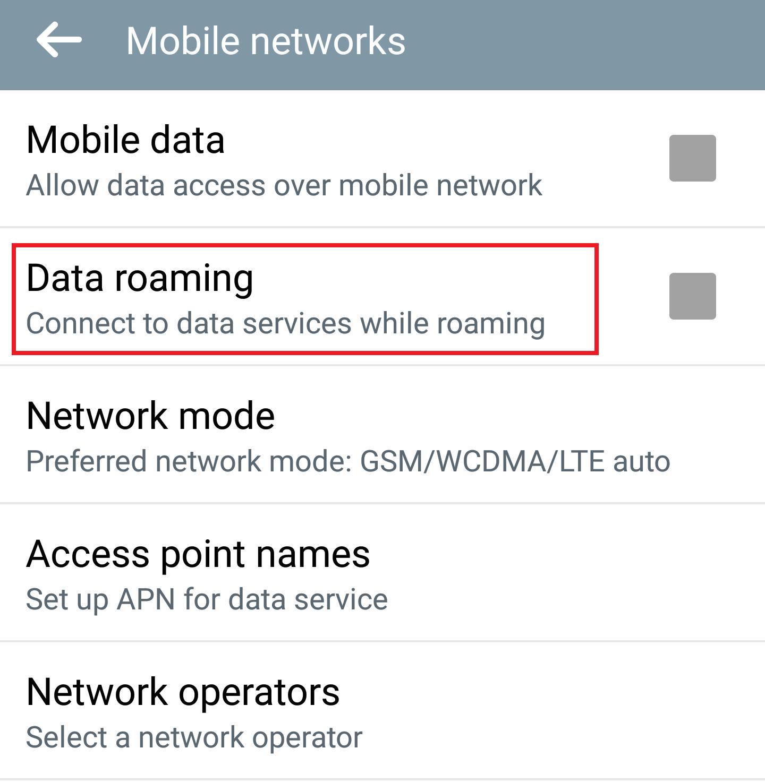 Isključena opcija roming internet (Data roaming)